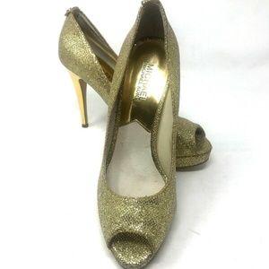 Michael Kors York Platform Gold Glitter Heel Pumps